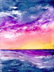 Watercolour Painting - Sunset Storm Seascape